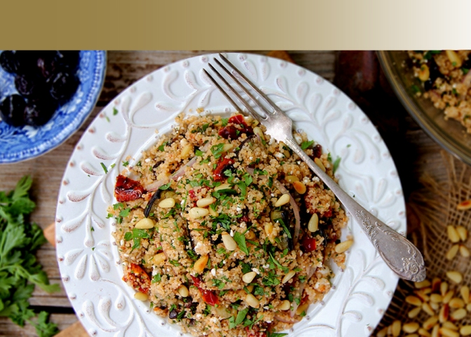 Whole Wheat Couscous Salad with Za'atar Roasted Eggplant